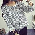 2016 nuevos estudiantes del todo-fósforo color de La Camiseta que basa la camisa suelta de manga larga a rayas Camiseta femenina blanco y negro stripes