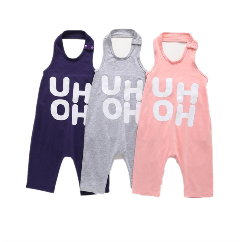 2b5330f8a Kid Overalls Kids Baby Boy Girl Letter Sleeveless Romper Halter Jumpsuit  Trousers Outfit Summer