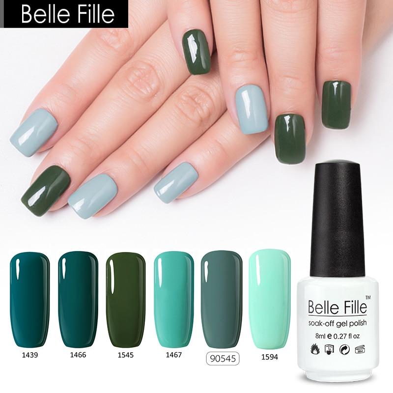 BELLE FILLE Green UV Gel Nail Polish 10ml Soak Off Gel Polish LED ...