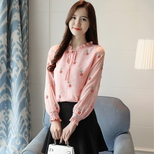 Blusas 2019 Autumn Embroidery Long Sleeve Chiffon Blouse Round Neck Shirt Womens Tops and Blouses