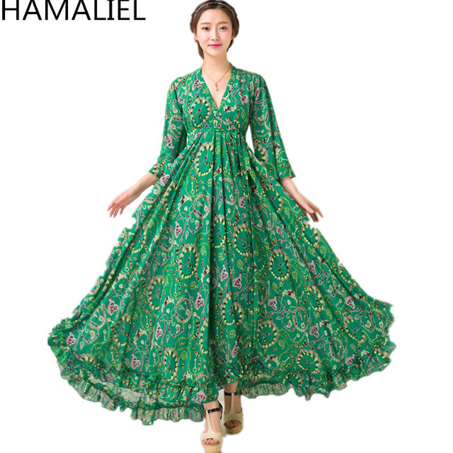 62dabee86c HAMALIEL Boho Style Holiday Beach Long Dress 2018 Summer Women Green Chiffon  Printed Floral Flare Sleeve