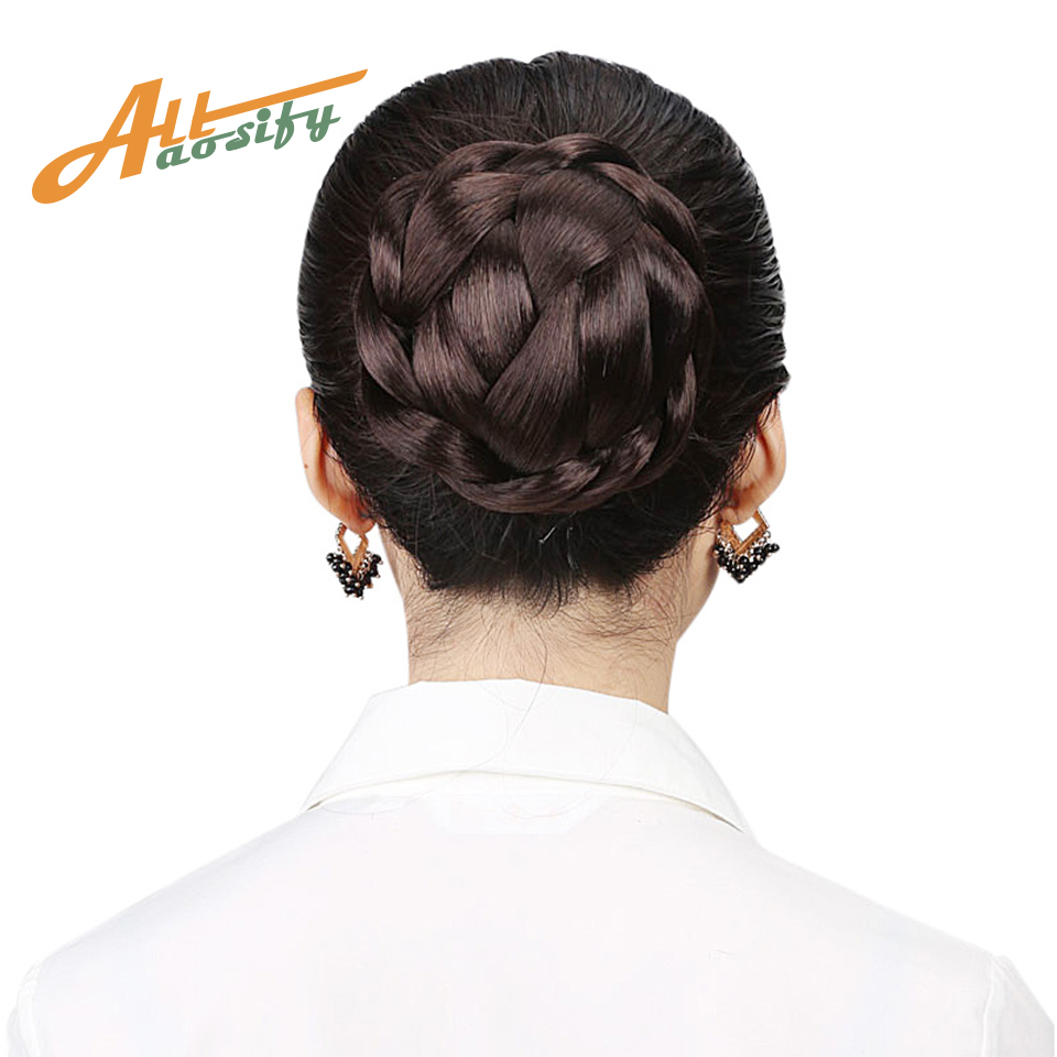 Allaosify  Small Size Knitted Hair Braided Chignon Synthetic Hair Bun Donut Roller Hairpieces Hair Haar Accessories