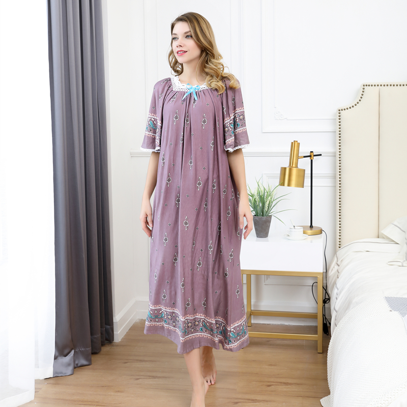 Summer women Sexy Modal cotton Pamjamas Sleepwear Night Dress Lace Long nightgowns skirts sleepwear plus size night dress 100kg