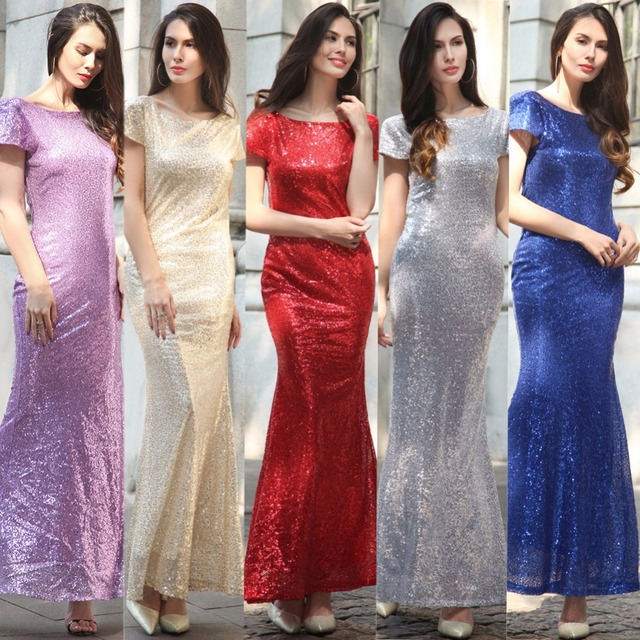 fashionable sequined fish tail woman's dress luxury gold silver