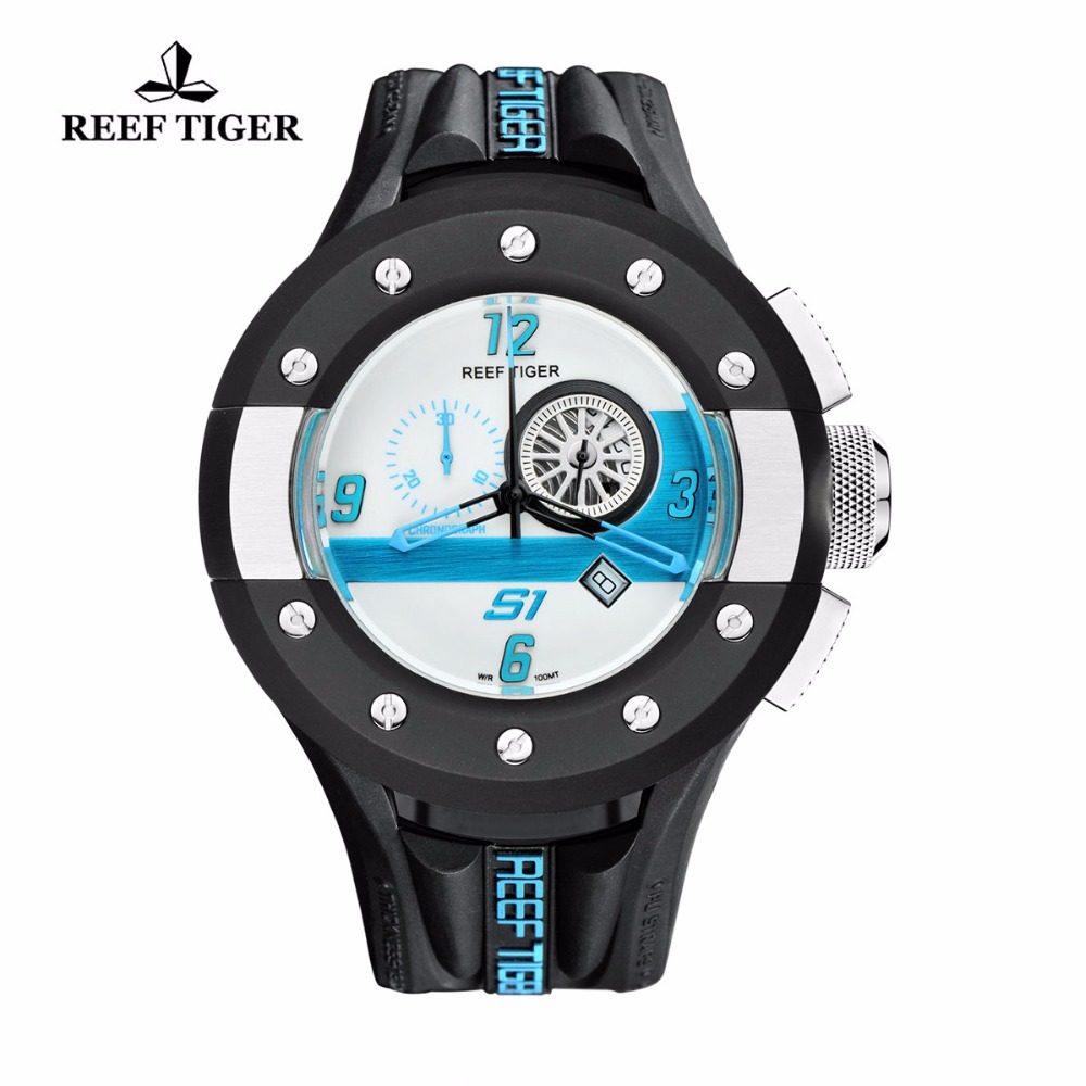 Reef Tiger/RT Mens Casual Sport Watches White Dashboard Dial Quartz Movement Watch Rubber Strap RGA3027 reef tiger rt chronograph sport watches for men dashboard dial watch with date quartz movement steel watches rga3027