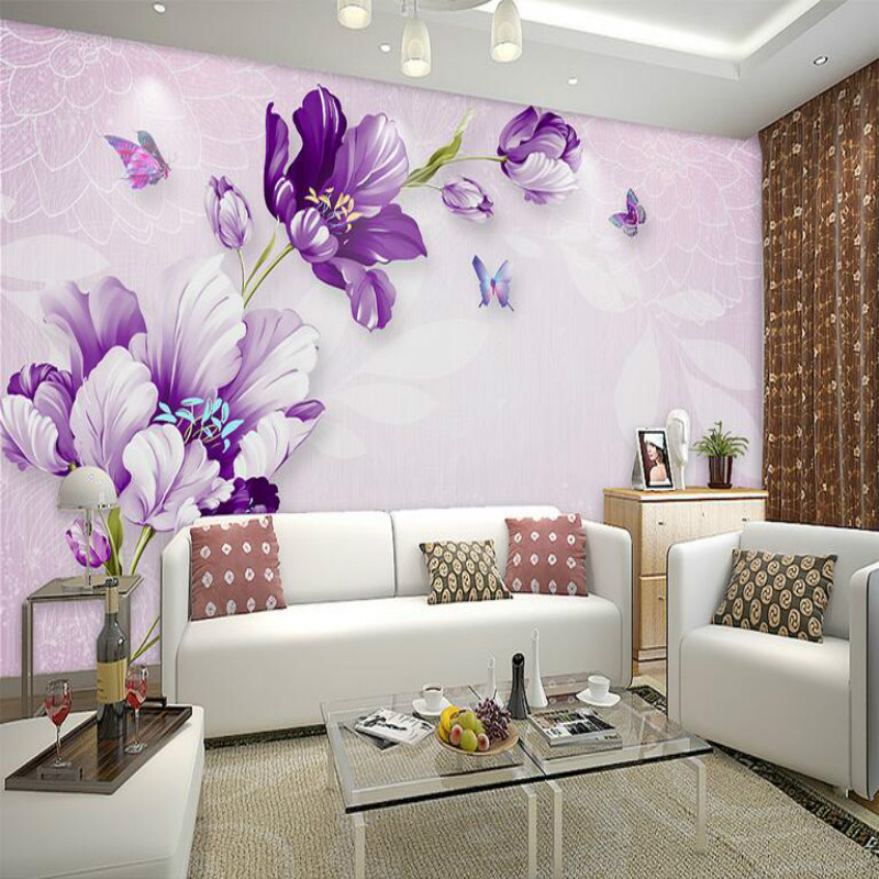 3D Wallpaper for Walls 3d Wall Paper TV Background Painting Mural Wallpapers Home Improvement decorate Purple beautiful flower home improvement 3d wall paper rolls silk wallpaper for walls 3d tropical plant turtle shell back painted watercolor