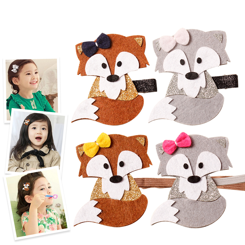 Newly Design Fashion Cute Cartoon Fox Baby Hairpins Princess Barrette Kids Hair Clips Children Headwear Girls Hair Accessories baby cute style children accessories hairpins rabbit fur ear kids girls barrette lovely hair clip