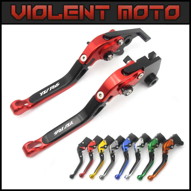 For Yamaha YZF R6 1999 2000 2001 2002 2003 2004 With Logo(YZF R6) Red+Klack New CNC Adjustable Motorcycle Brake Clutch Levers