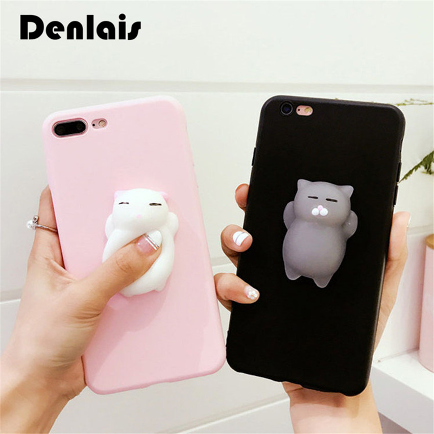 Squishy Cat For Phone Case : Black Pink Cute Silicone Squishy Cat Phone Cases For Samsung Galaxy S5 S6 Edge Plus S7 S7 Edge ...