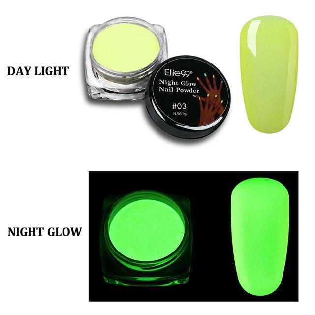 Elite99 1g Leucht Pigment Leuchtstoff Pulver Nagel Glitter Glow in The Dark Glitter Phosphor Nail art Nagel Staub Wirkung pulver