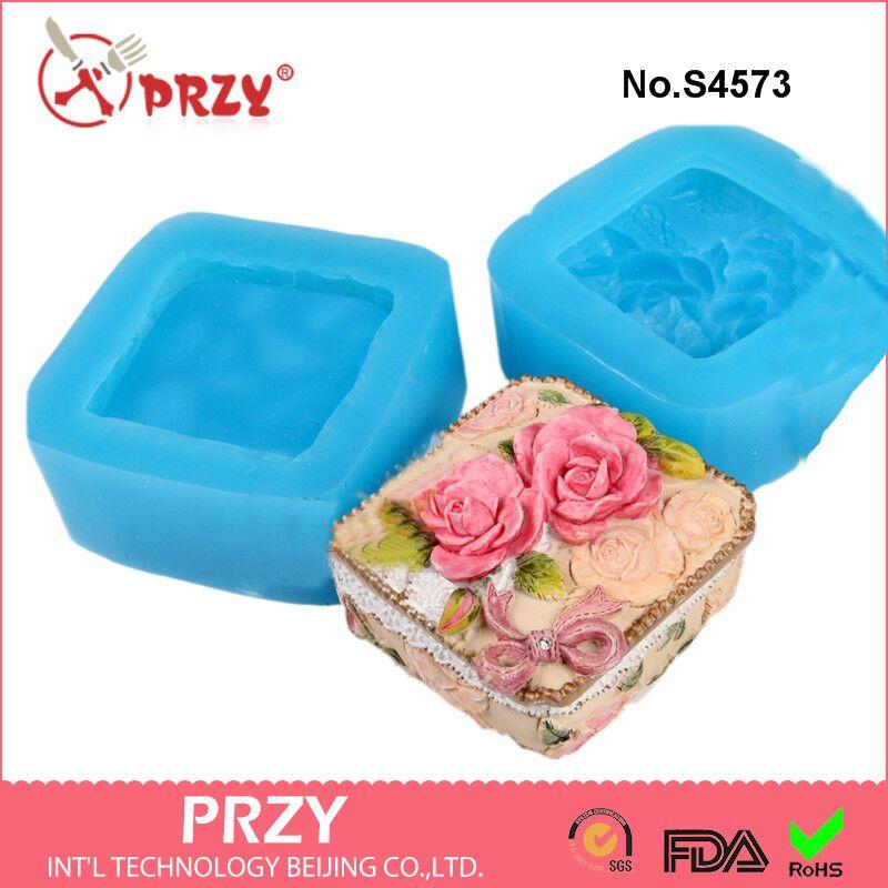 Rose Box Silikonové formy růže mýdlové formy růže silikonové mýdlové formy růže silikagel umřít šperky BoxAroma kamenné formy svíčková forma