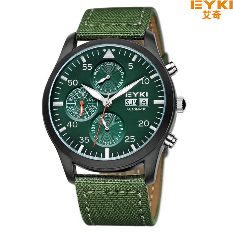 EYKI Mechanical Army Military Fabric Strap Watches Men Luxury Brand Automatic Watch Men Year Month Week Date Wristwatch Clock mg orkina luxury tourbillon automatic self wind watches men mechanical auto date month week wrist watch men clock wristwatches