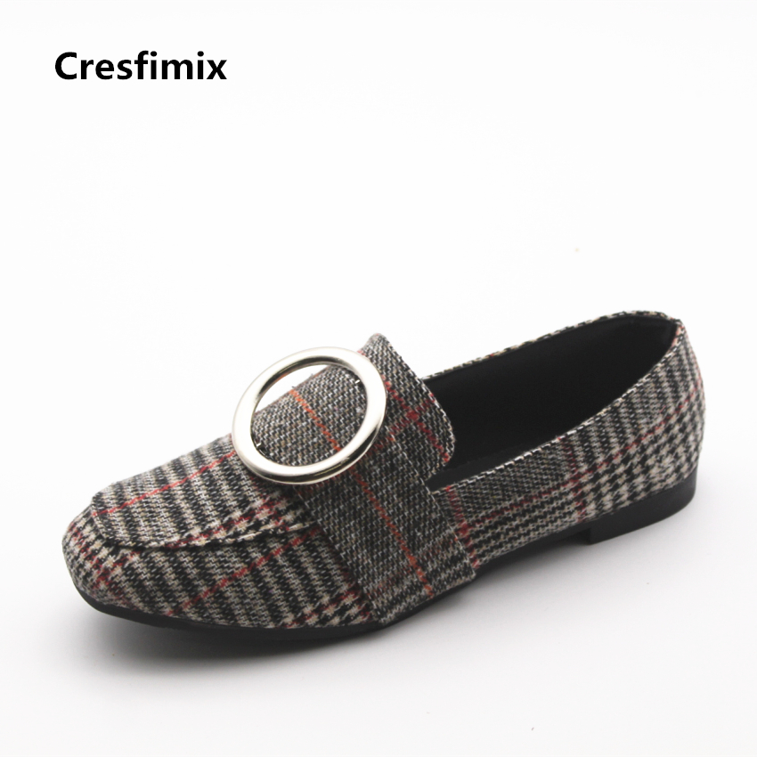 Cresfimix zapatos de mujer women cute spring comfortable slip on shoes lady leisure street style shoes female summer shoes cresfimix zapatos de mujer women fashion pu leather slip on flat shoes female soft and comfortable black loafers lady shoes