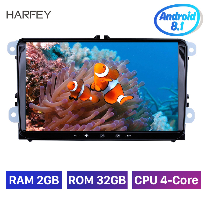 Harfey 2din 9inch GPS Navi Car Multimedia Player Android 8.1 Auto Radio For Skoda/Seat/Volkswagen/VW/Passat b7/POLO/<font><b>GOLF</b></font> 5 <font><b>6</b></font> image