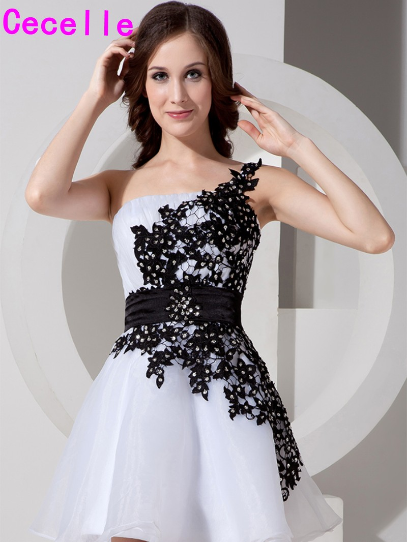Black and White Short Juniors Cocktail Dresses One Shoulder Lace ...