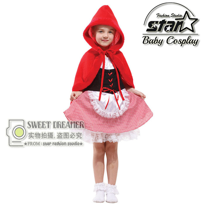 Kids New Halloween Cosplay Costume Girls Little Red Riding Hood Dress Lovely Cute Witch Clothing for Masquerade Party Costume
