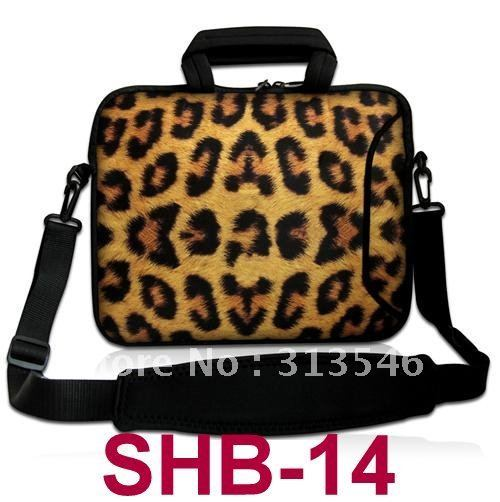 "new Leopard 13"" 13.3"" Laptop notebook carry Bag Case Cover whit Shoulder Strap AND 2 POCKETS +HANDLE"