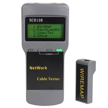 جهاز اختبار شبكة LCD محمول ومقياس كابل الهاتف LAN ومقياس مع شاشة LCD جهاز اختبار كابل RJ45 Ftth