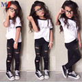 Trend Europe Style Special Design Sets Fashion Letters White T-shirt Hole Trousers 2pcs Children Clothing Girls