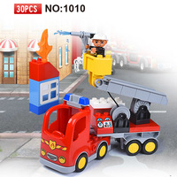 30pcs Big Size Diy Fire Station Duploed Building Blocks Bricks Set Educational Duploe Toys For Children Kids Brithday gifts