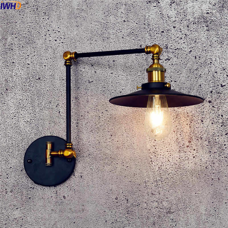IWHD Retro Vintage LED Wall Light Fixtures Black Home Stair Lighting Swing Long Arm Wall Lamp Loft Industrial Edison Luminaire