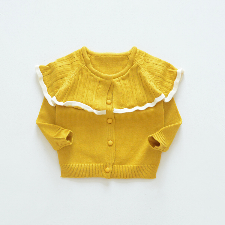 New 2019 girls baby cardigan sweater girl lapel lace sweater solid color  kids girls cute sweaters