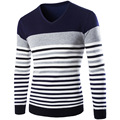 2016 New autumn and winter men's casual V-neck sweater hedging spell color stripe knit sweater men Fashion Wool Sweaters