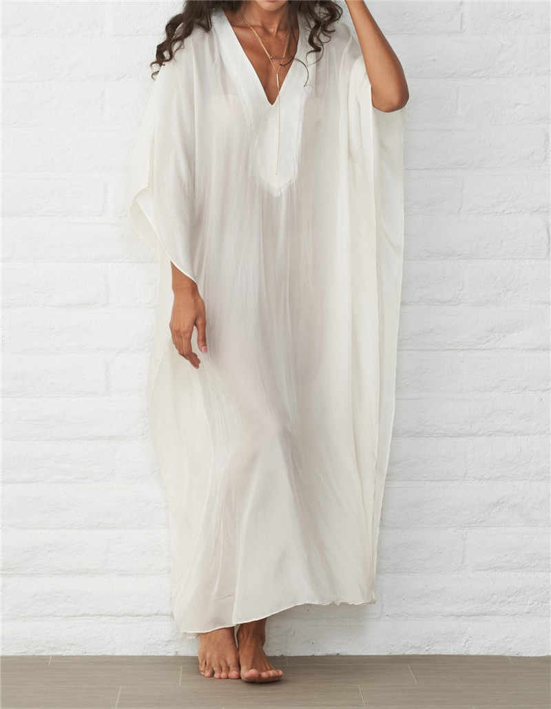 5755f9086d 2019 Tunic Beach Coverup Vestido playa Oversize Bathing suit Cover ups  Dresses Robe de Plage Swim