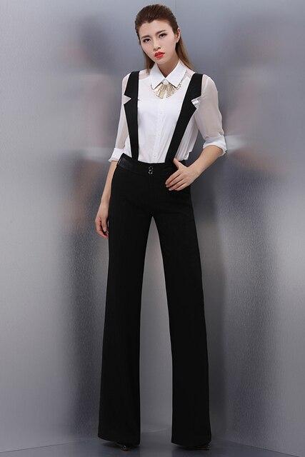 f7151161c 2016 de moda negro ligas desmontables pantalones anchos de la pierna  pantalones de vestir de mujer
