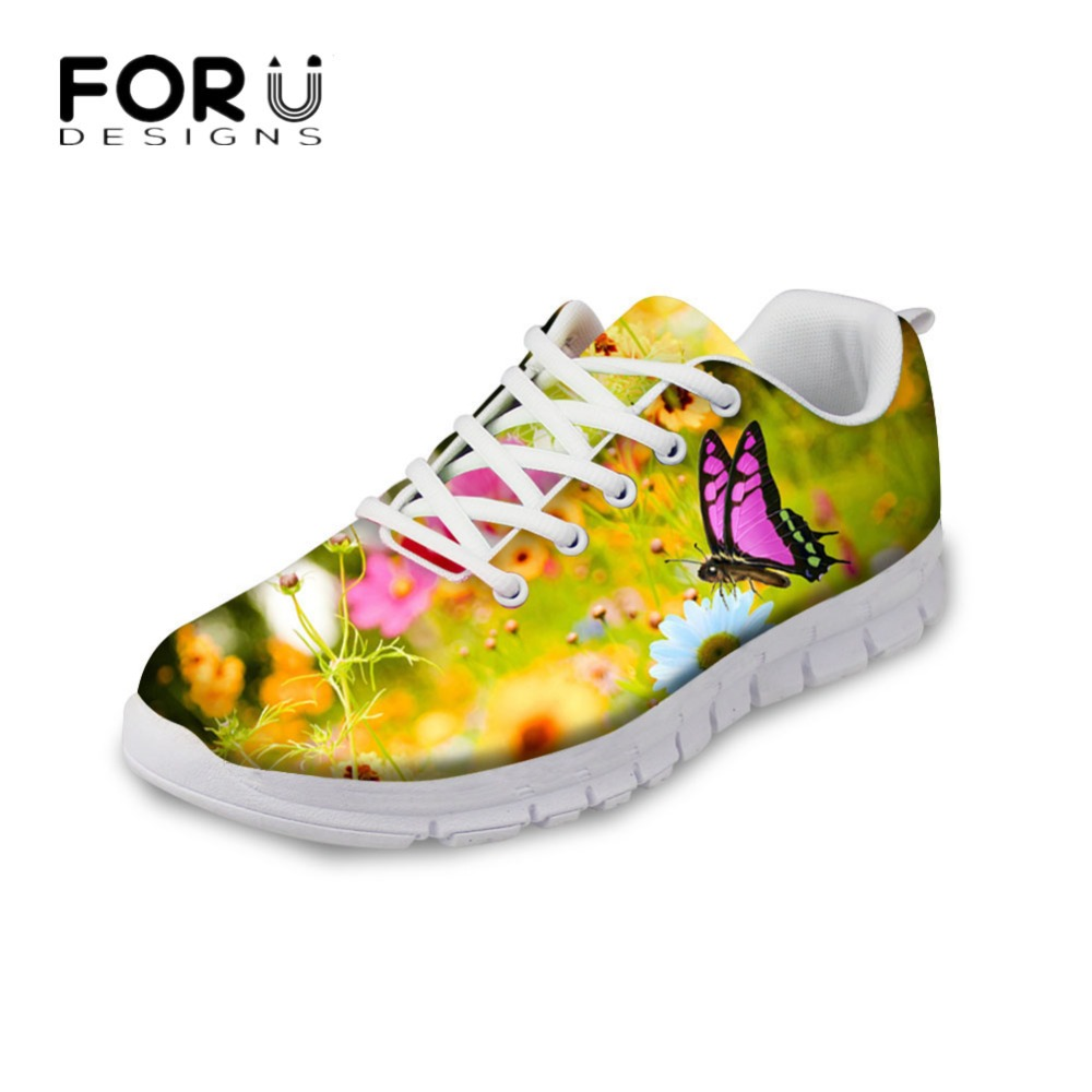 FORUDESIGNS Cute 3D Animal Butterfly Printed Woman Flats Shoes Fashion Women's Lace-up Flat Breathable Mesh Shoes Ladies Women forudesigns cute animal dog cat printing air mesh flat shoes for women ladies summer casual light denim shoes female girls flats