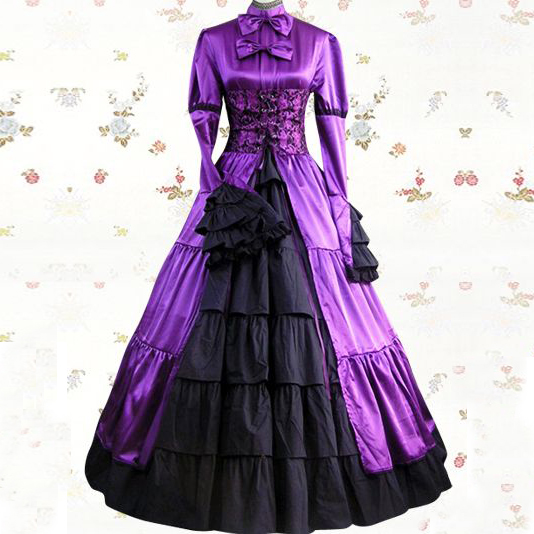 Purple Thick satin  Court Dres  Adult Medieval Renaissance Victorian Dress Costume Halloween Lolita Cosplay Ball Gown Dresses