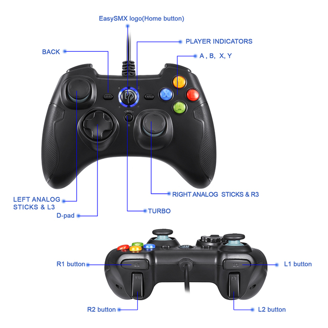 EasySMX ESM-9100 Wired Game Controller Gamepad Joystick with TURBO TRIGGER Button for PC PS3 TV Box Android Smartphone