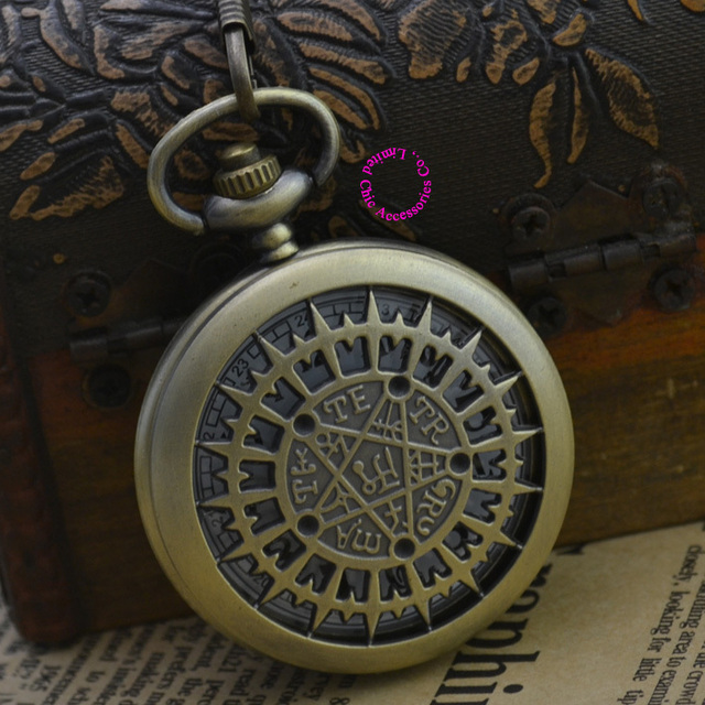 Fashion Quartz Man Astronomy Pocket Watch Necklace Classic Men Fob Watches Ancient  Vintage Antique Bronze Classic Retro Arabic