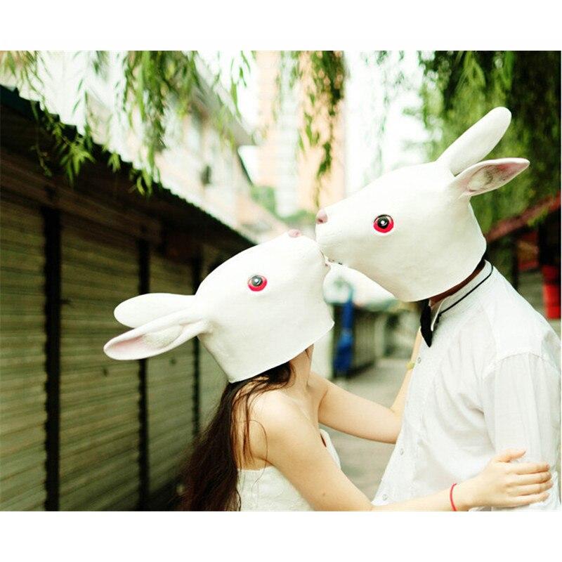 2017 Maschere di Halloween Occhi Rossi di Coniglio Testa del Fronte del  Fronte Pieno lattice Coniglio Maschera Divertente Travestimenti per il  Partito Cos ... 3c5747d7e45f
