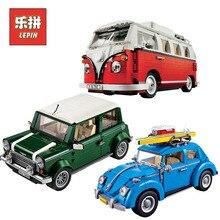 Лепин техника 21001 Volkswagen T1 Camper 21003 Жук 21002 Купер автомобиль строительные Конструкторы кирпичи Legoingly 10220 Дети День рождения игрушечные лошадки