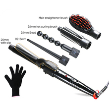 5 in 1 Electric Hair Curler Ceramic Curling Iron Wand Hair Curler Set  Interchangeable Head Hair Care Styling Tools 100-240V 2015 new arrival hair styling tools pro 5 in 1 hair curler ceramic 5 tubes hair wand p 5 in black and pink color eu plug