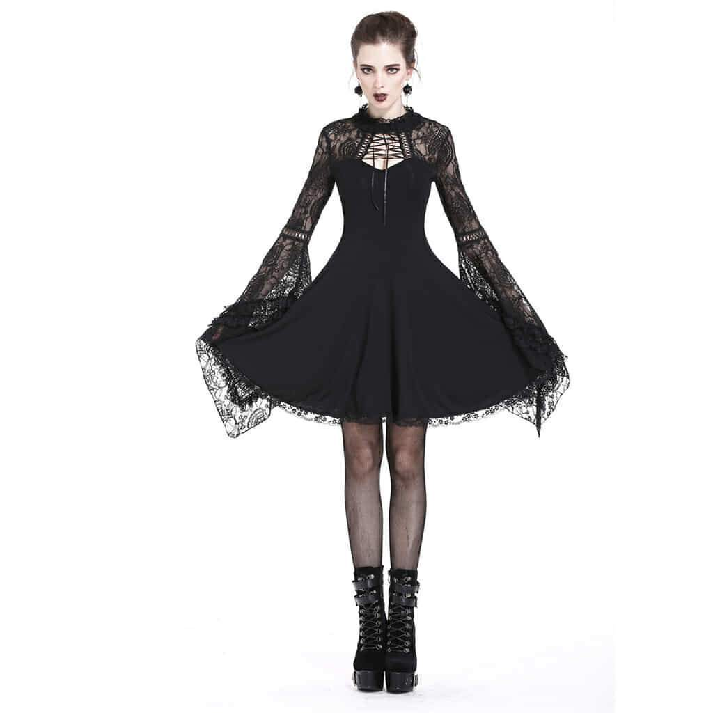 Darkinlove Women Gothic Dress Black Lace Long Sleeved Short Dress Daily Gothic Party Clothing