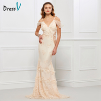 Dressv Evening Dress V Neck Champagne Cap Sleeves Backless Appliques Mermaid Lace Long Evening Dress Trumpet
