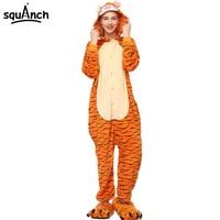 Women Onesie Cartoon Tiger Pajama Adult Unisex Party Funny Suit Cartoon TIGGER Costume Animal Pyjama Winter