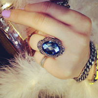 Fashion Vintage Style Bohemia 18K Gold Plated Oval Royal Luxury Blue Sapphire Stone Crystal Decorate Ring