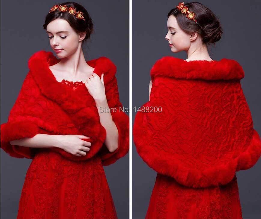 2015 nouveau pressé Wrap mariage mariée robe formelle Cape rouge hiver mariée épaississement fourrure châle veste de mariage