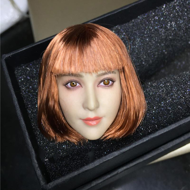 1/6 Scale China Famos Star  Bingbing Fan Female Figure Short Hair Head Sculpt Model Toy For Pale Body halloween decoration horror face removable wall sticker for home decors