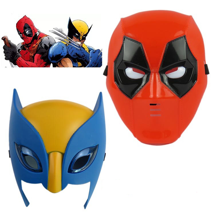 Marvel Movie Deadpool costume mask cosplay for kids2016 New X-man deadpool  Wolverine Light Mask Performing props Halloween Gift