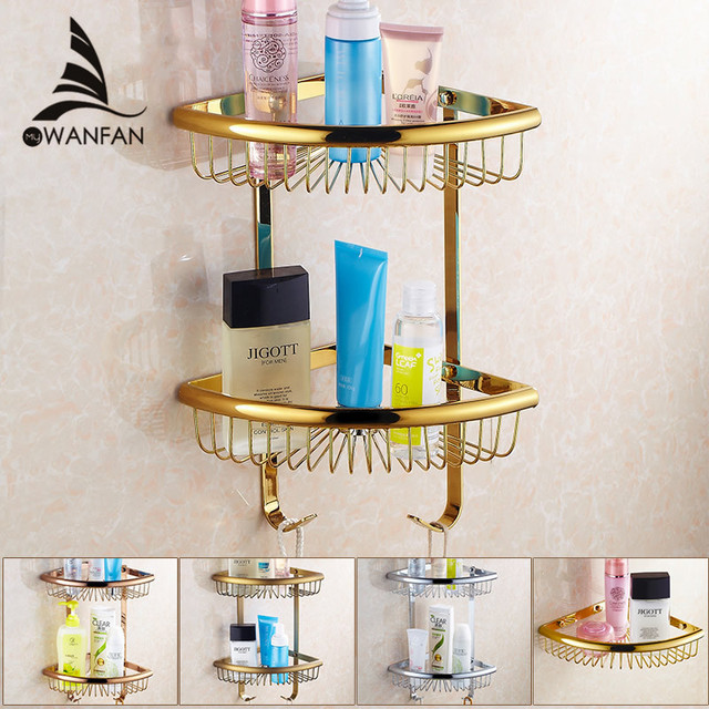 Bathroom Shelves Golden Brass Material With Robe Hook 2 Tier Bathroom  Storage Basket Wall Mounted