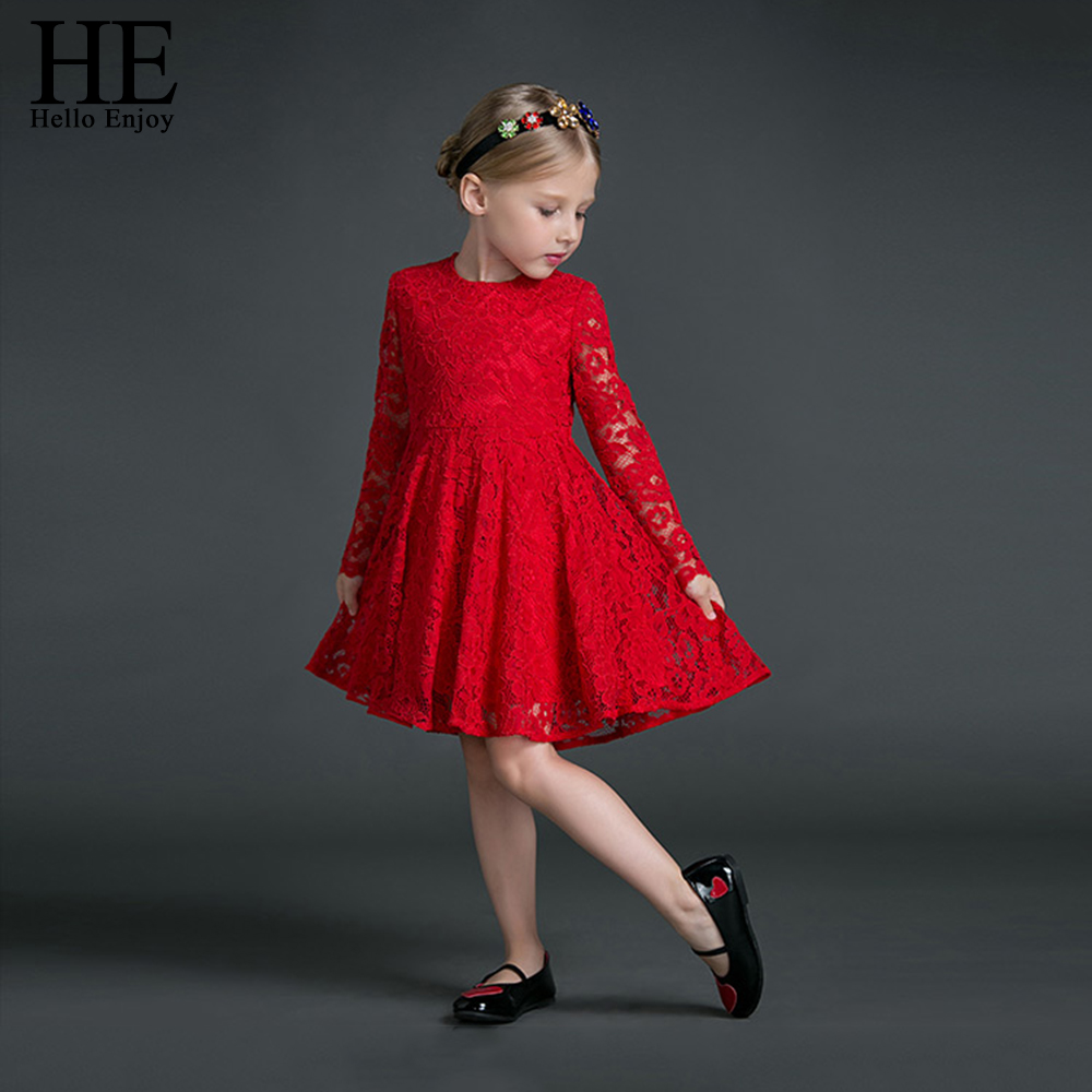 HE Hello Enjoy Girls Dress Autumn Wedding Dress Long Sleeves Red Lace Princess Party Dresses Girl Clothes Kids Vestido Infantil