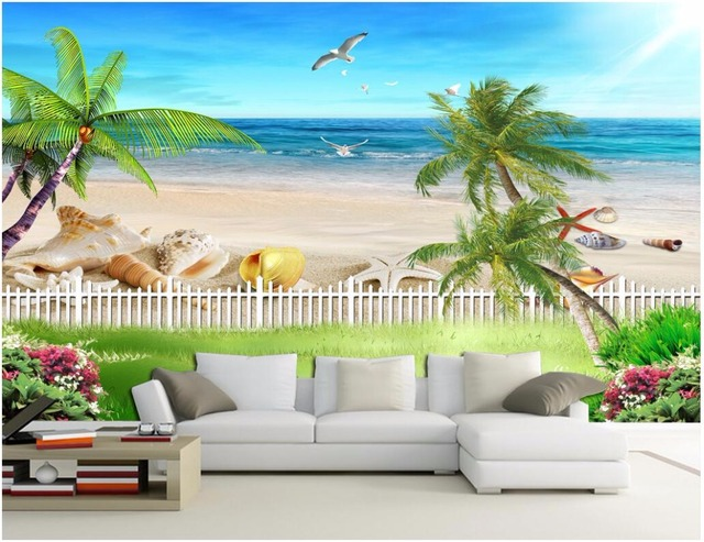 Custom 3 D Photo Wallpaper Wall Murals 3d Wallpaper Beach: Custom Mural Photo 3d Wallpaper Ocean Beach With Beautiful