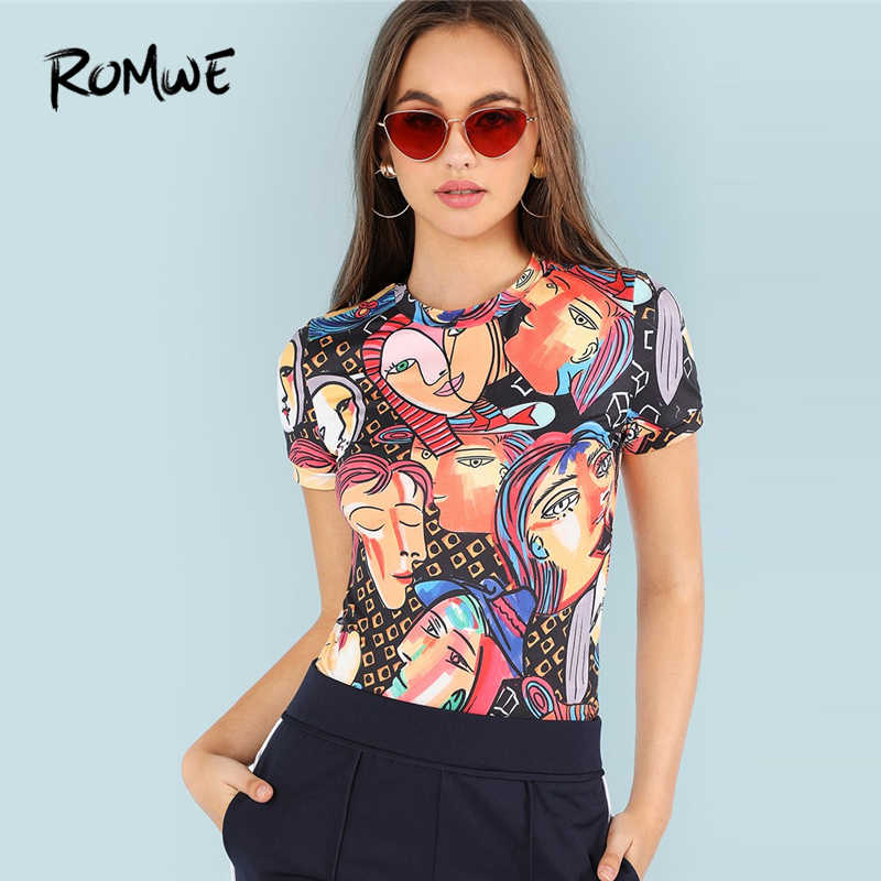 ROMWE Figure Print Ringer Tee Women 2019 Casual Tee Shirt Clothing Summer Womens Short Sleeve Vacation Tops Pullovers T-Shirts