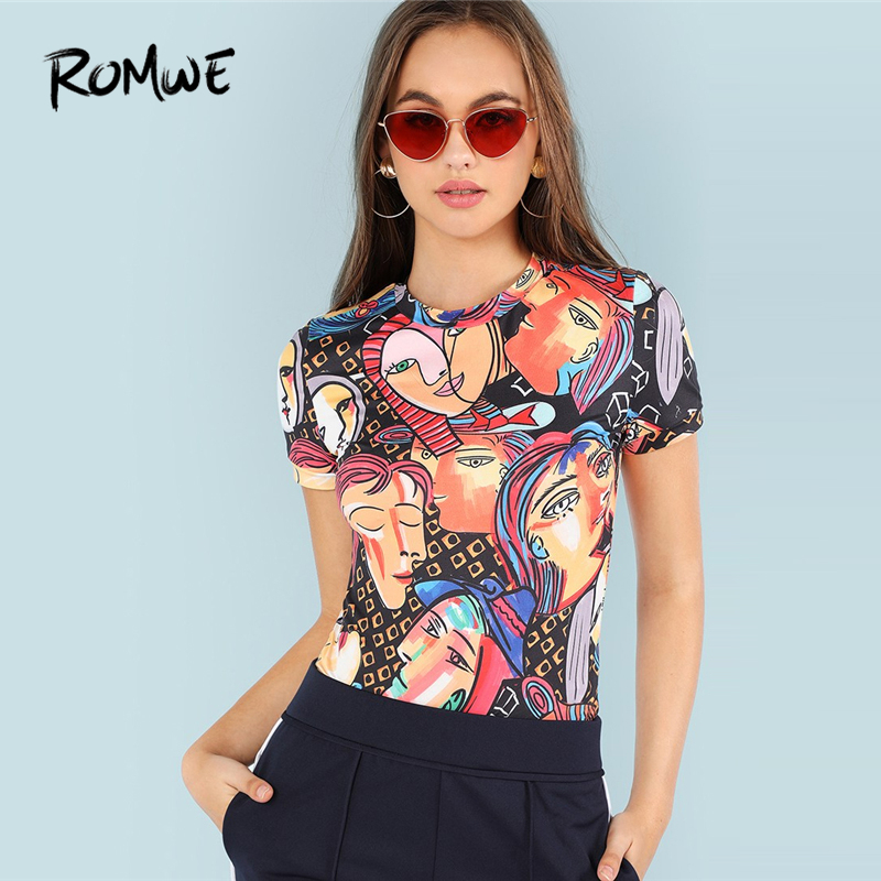 ROMWE Figure Print Ringer Tee Women 2019 Casual Tee   Shirt   Clothing Summer Womens Short Sleeve Vacation Tops Pullovers   T  -  Shirts