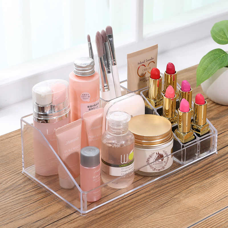 New 6 Grids Acrylic Makeup Organizer Lipstick Cosmetic Box Storage Box Jewelry Box Case Holder Display Stand Make Up Organizer