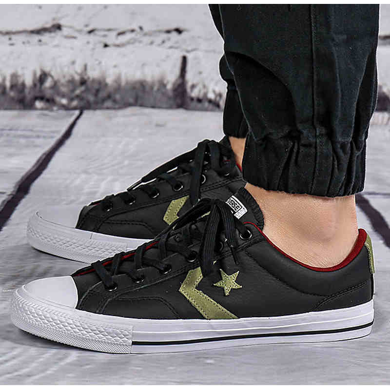 a2f483654ae9 100% original Converse Star Player Leather shoes black color man and women  Unisex PU Leather Skateboarding Shoes 153762C-in Skateboarding from Sports  ...